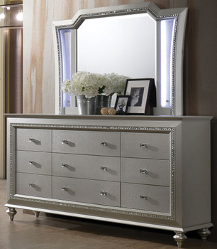 Marvilla Silver LED Dresser & Mirror