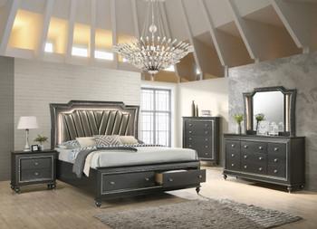 Marvilla Gray LED Storage Bedroom