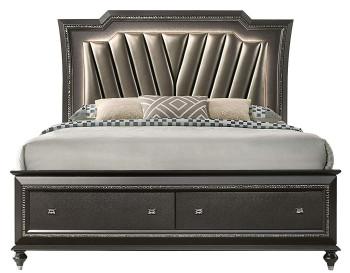 Marvilla Gray LED Storage Bed