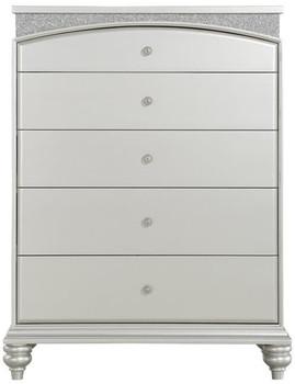 Precious Platinum Rhinestones 5 Drawer Chest