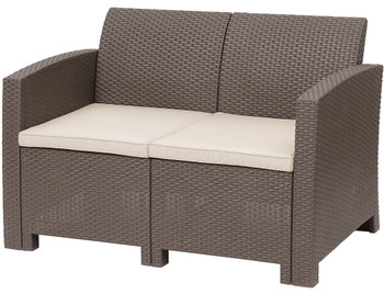 Jerdico Brown 3 Piece Loveseat Patio Set