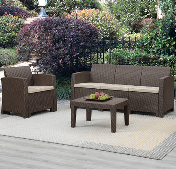 Jerdico Brown 3 Piece Sofa Patio Set