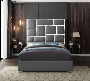 Sylvia Grey Faux Leather Bed