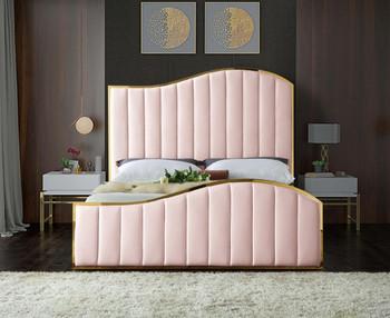 Athena Pink & Gold Velvet Bed