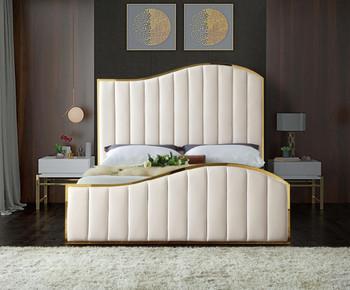 Athena Cream & Gold Velvet Bed