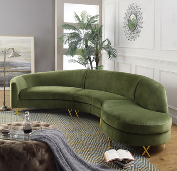 Rain Green 3-PC Fabric Sectional