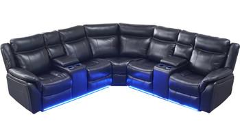 Jaxson Black Leatherette LED Powered Sectional