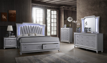 Priscilla Silver Lighted Storage Bed