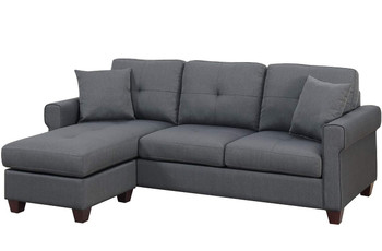 "Sanders Gray 86"" Wide Reversible Sectional"
