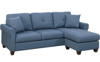 "Sanders Blue 86"" Wide Reversible Sectional"