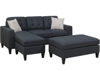 "Petre Black 81"" Wide Reversible Sectional and Ottoman"