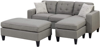 "Petre Gray 81"" Wide Reversible Sectional and Ottoman"