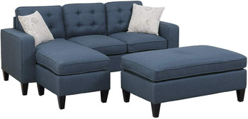 "Petre Blue 81"" Wide Reversible Sectional and Ottoman"