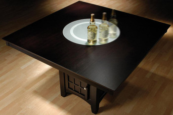 Meyer Cappuccino Counter Height Table With Lazy Susan
