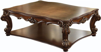 """Crownwood Cherry 59"""" Wide Rectangular Coffee Table with Shelves"""