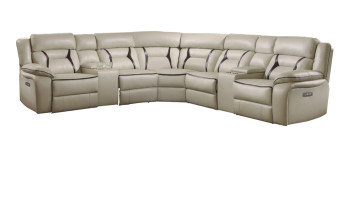Zenon Beige Gel Leather 7-PC Powered Reclining Sectional
