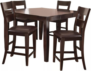 Kurt Dark Brown 5 Piece Counter Height Set