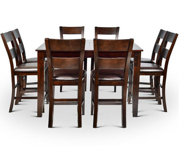 Kurt Dark Brown 9 Piece Counter Height Set