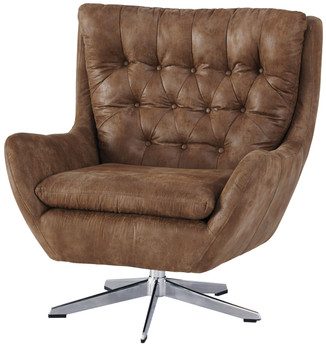 "Mae Brown 35"" Wide Swivel Chair"
