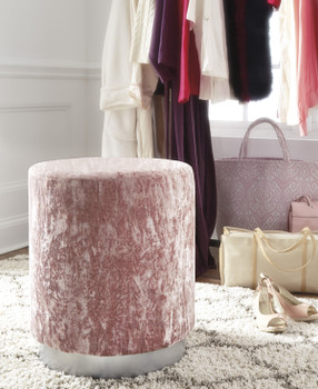 "ELIZA Pink 18"" Wide Stool"
