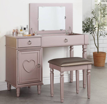 Hilary Lift Mirror Vanity with Stool