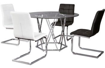 PROKTI Black & White 5 Piece Dining Set
