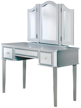 Virginia Mirrored Silver Vanity with Stool