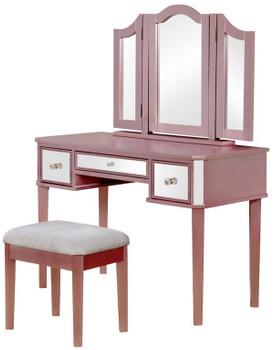 Virginia Mirrored Pink Vanity with Stool
