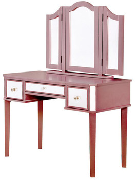 Virginia Mirrored Pink Vanity with Stool