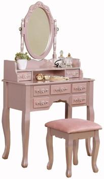 Koleyna Rose Gold Vanity w/ Stool