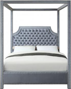 Valencia Grey Velvet Canopy Bed