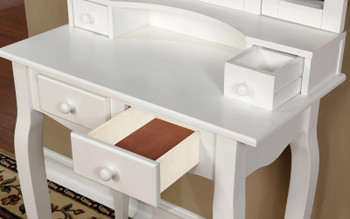 Keona White Vanity with Stool
