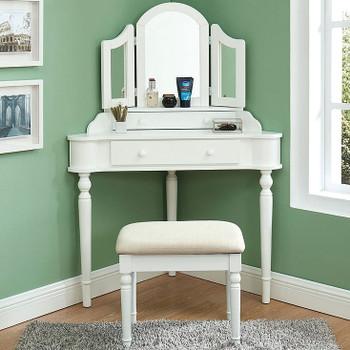 Linette White Corner Vanity with Stool