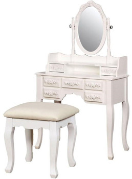 KOLEYNA White Vanity with Stool