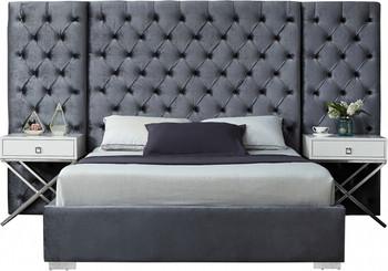Fantasia Grey Velvet Bed