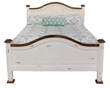Colima Distressed White Pine Wood Bed