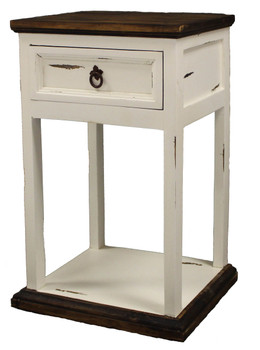 Colima Distressed White Pine Wood Nightstand