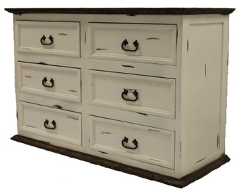 Colima Distressed White Pine Wood Dresser