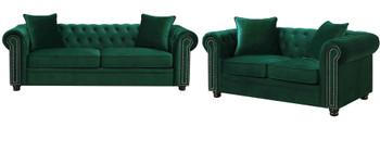 ISADORA Green Sofa & Loveseat