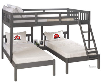 GADSEN Dark Gray Full over Double Twin Bunkbed