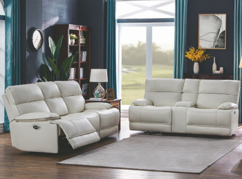 HIDDEN HILLS White Reclining Livingroom Set with Power Headrests