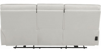"Hidden Hills White 90"" Wide Reclining Sofa with Power Headrests"