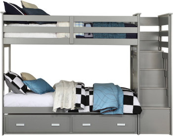 JESS Gray Twin Bunk Bed with Trundle
