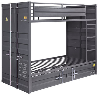 Gray Container Twin over Twin Bunkbed