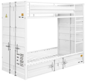 White Container Twin over Twin Bunkbed