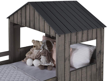 Stan Rustic Grey Twin over Full Tree House Loft