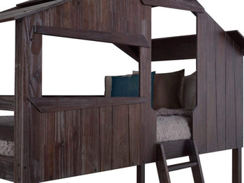 Brooks Rustic Brown Tree House Twin over Twin Loft Bed