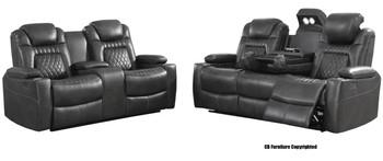 SENATOR Charcoal Powered Reclining Sofa & Loveseat