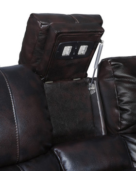 HENRY Dark Brown Leatherette Reclining Sofa & Loveseat