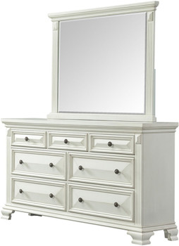 "Conroe Pure White 65"" Wide Dresser and Mirror"